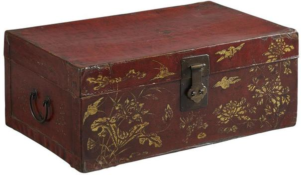Painted Red Lacquer Leather Trunk