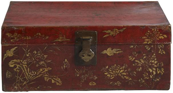 Painted Red Lacquer Leather Trunk image 2