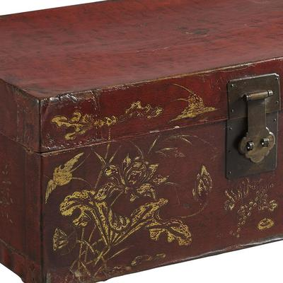 Painted Red Lacquer Leather Trunk image 5