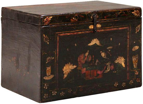 Painted Opera Trunk in Black Lacquer