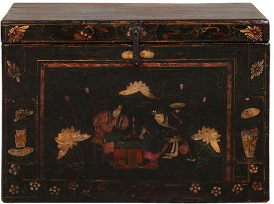 Painted Opera Trunk in Black Lacquer image 2