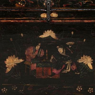 Painted Opera Trunk in Black Lacquer image 3
