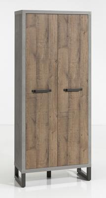 Manhattan Two Door Highboard  - Grey and New Aged Oak Finish image 2