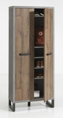 Manhattan Two Door Highboard  - Grey and New Aged Oak Finish