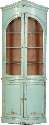 Turquoise Corner Shelving Unit French Hand-Painted