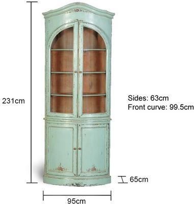 Turquoise Corner Shelving Unit French Hand-Painted image 2