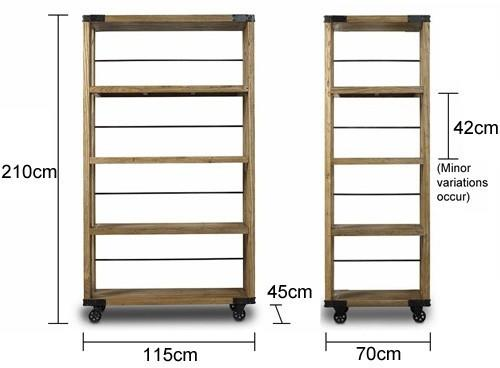 Slim Industrial Wheeled Bookcase image 3