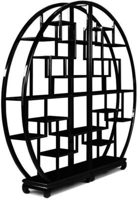Chinese Circular Display Shelf, Black Lacquer