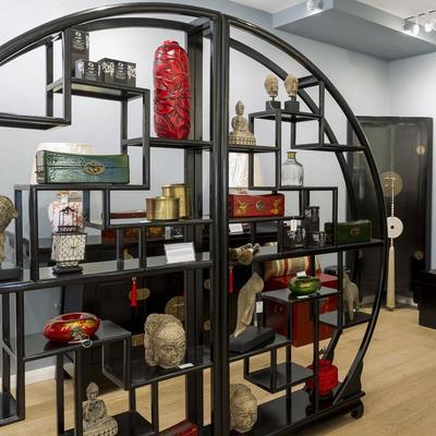 Chinese Circular Display Shelf, Black Lacquer image 2