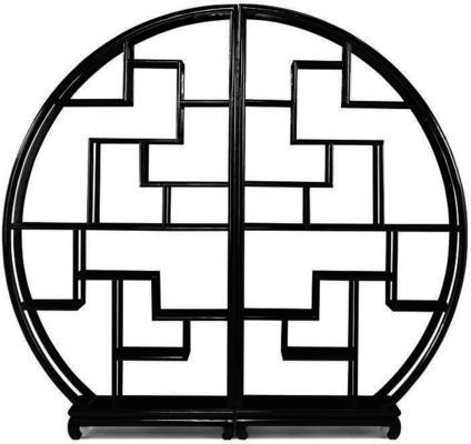 Chinese Circular Display Shelf, Black Lacquer image 3