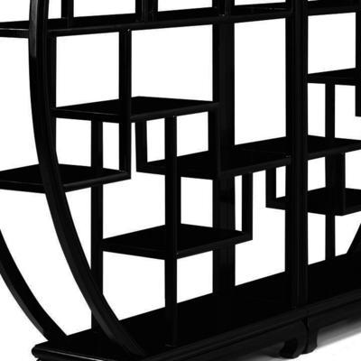 Chinese Circular Display Shelf, Black Lacquer image 5