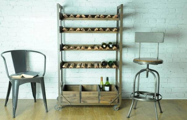 Harlem Vintage Industrial Wine Shelf Rack On Wheels image 3
