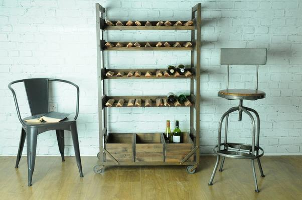 Harlem Vintage Industrial Wine Shelf Rack On Wheels image 4