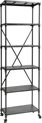 Industrial Shelving Rack with Castors, Black Metal Finish