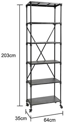 Industrial Shelving Rack with Castors, Black Metal Finish image 2