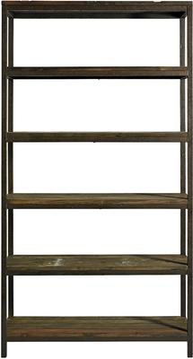 Wide Industrial Rack, Distressed Metal with 5 Wood Shelves