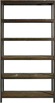 Wide Industrial Rack, Distressed Metal with 5 Wood Shelves