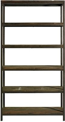 Wide Industrial Rack, Distressed Metal with 5 Wood Shelves image 2