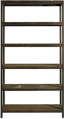 Wide Industrial Rack, Distressed Metal with 5 Wood Shelves image 2