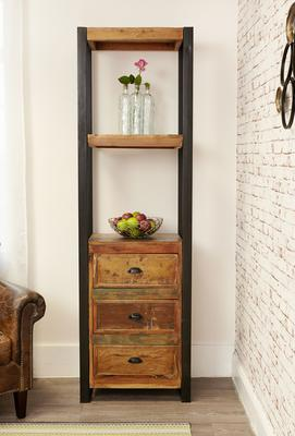 Shoreditch Alcove Bookcase Three Drawers Reclaimed Wood image 2