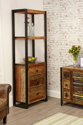 Shoreditch Alcove Bookcase Three Drawers Reclaimed Wood image 3