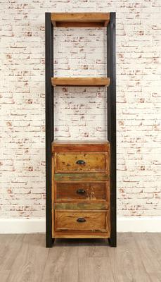 Shoreditch Alcove Bookcase Three Drawers Reclaimed Wood image 5