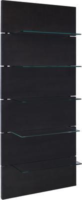 Wall shelving unit in black wenge veneer 6 glass shelves - Cordoba range