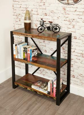Shoreditch Rustic Low Bookcase Reclaimed Wood