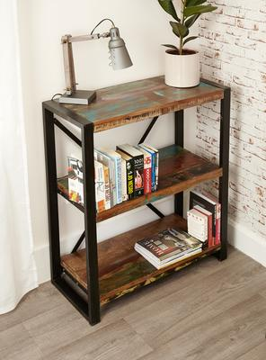 Shoreditch Rustic Low Bookcase Reclaimed Wood image 3
