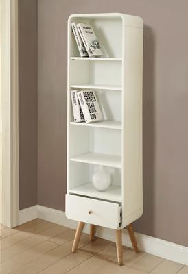 Jual Retro Tall Bookcase One Drawer - Ash or White image 2
