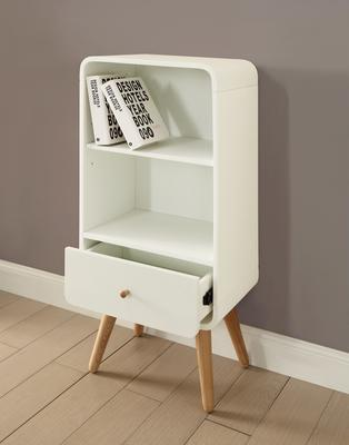 Jual Retro Short Bookcase One Drawer - Ash or White image 2