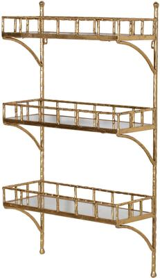 Bamboo Effect Wall Shelf Unit Iron and Mirrored Glass