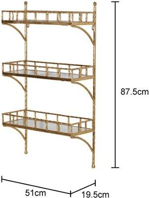 Bamboo Effect Wall Shelf Unit Iron and Mirrored Glass image 2