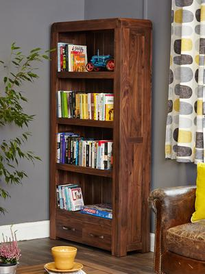 Shiro Walnut 2 Drawer Bookcase image 2