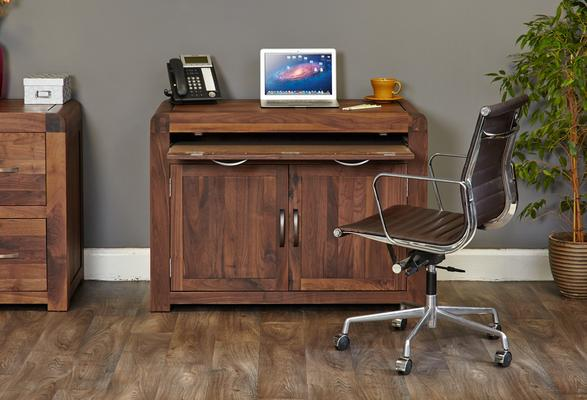 Shiro Walnut Hidden Home Office image 2