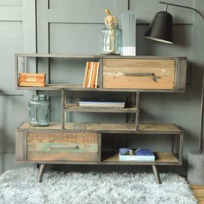 Mariner Three Shelf Two Drawer Unit Industrial Vintage