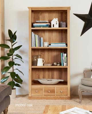 Mobel Solid Oak Modern Large Bookcase with 3 Drawers image 2