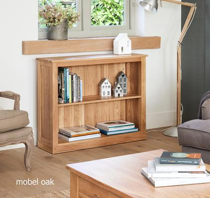 Mobel Solid Oak Modern Low Bookcase