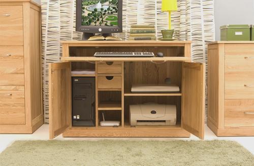 Mobel Oak Hidden Home Office Desk Workstation image 4