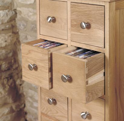 Mobel Oak 10 Drawer DVD / CD Storage Chest image 3