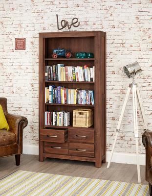 Mayan Walnut Large Bookcase 4 Drawer Rustic Design