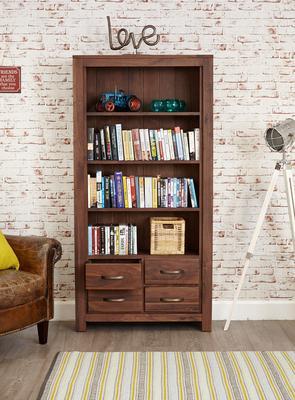 Mayan Walnut Large Bookcase 4 Drawer Rustic Design image 2