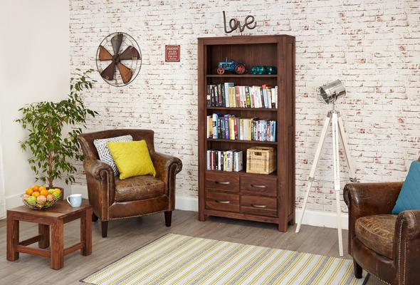 Mayan Walnut Large Bookcase 4 Drawer Rustic Design image 5