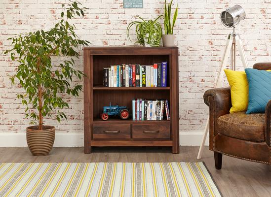Mayan Walnut Low Bookcase Rustic image 3