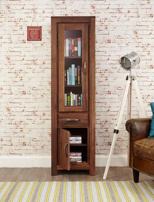 Mayan Walnut Narrow Bookcase Glazed Rustic Design