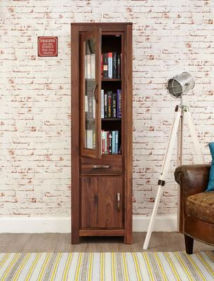 Mayan Walnut Narrow Bookcase Glazed Rustic Design image 2