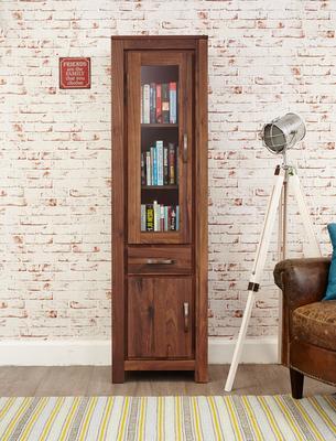 Mayan Walnut Narrow Bookcase Glazed Rustic Design image 3
