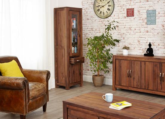 Mayan Walnut Narrow Bookcase Glazed Rustic Design image 5