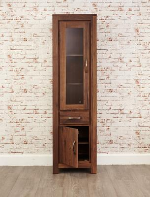 Mayan Walnut Narrow Bookcase Glazed Rustic Design image 6