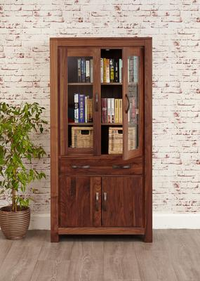 Mayan Walnut Large Glazed Bookcase Rustic image 2